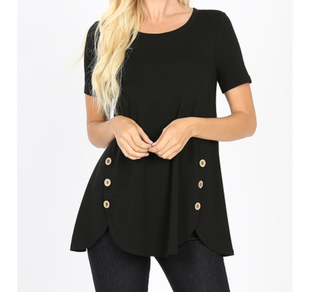 WISHFUL THINKING Black Wood Buttons Scallop Hem Top