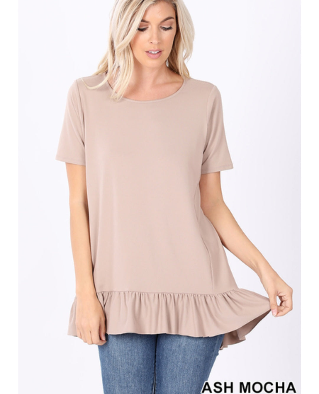 OUT AND ABOUT Light MOCHA Ruffle Hem Top