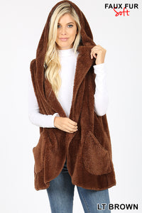 TEDDY BEAR Brown faux Fur Cocoon Hooded Vest with pockets