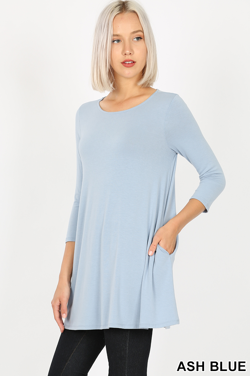 EMILY style ASH BLUE Tunic Top 3/4 Sleeve with Pockets