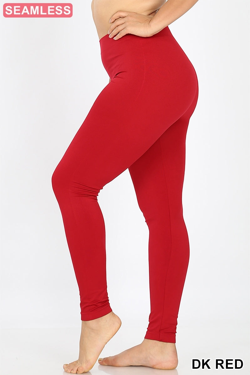 PLUS SIZE DARK RED Classic Seamless Leggings