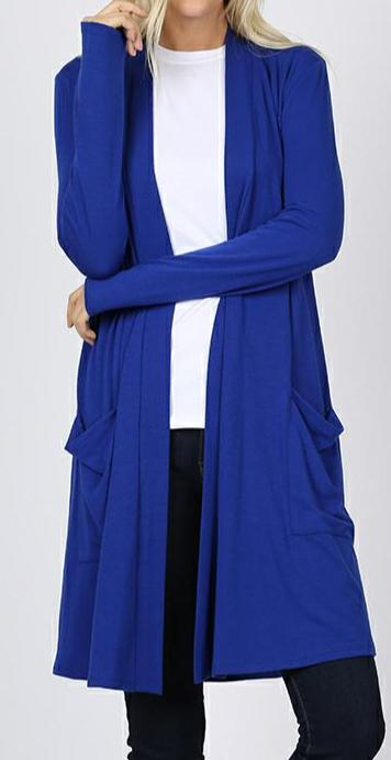 DENIM BLUE HARMONY Slouchy Pocket Cardigan