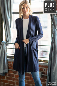 NAVY BLUE HARMONY Slouchy Pocket Cardigan