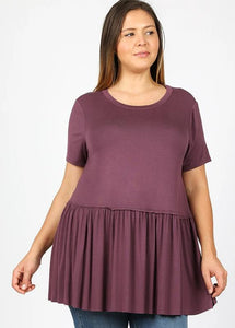 NEW BEGINNINGS EGGPLANT Plus Ruffle Baby Doll Tunic Top