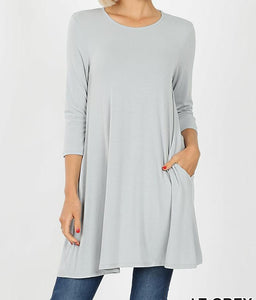 EMILY style Light Grey Tunic Top 3/4 Sleeve with Pockets