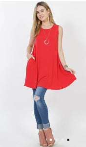 The RORY Ruby Red Solid Tank Tunic with POCKETS