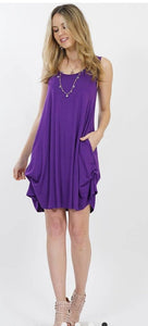 The RORY Purple Ruching Tank Tunic Dress with POCKETS