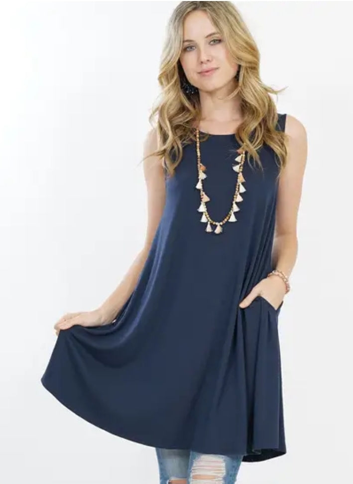 RORY Midnight Navy Blue Tank Tunic Dress with POCKETS