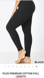 [CURVY] PLUS BLACK Cotton Blend Soft Full Length Leggings