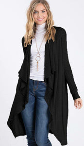 BLACK DAY TO DAY Hooded Long Sleeve Open Front Cardigan
