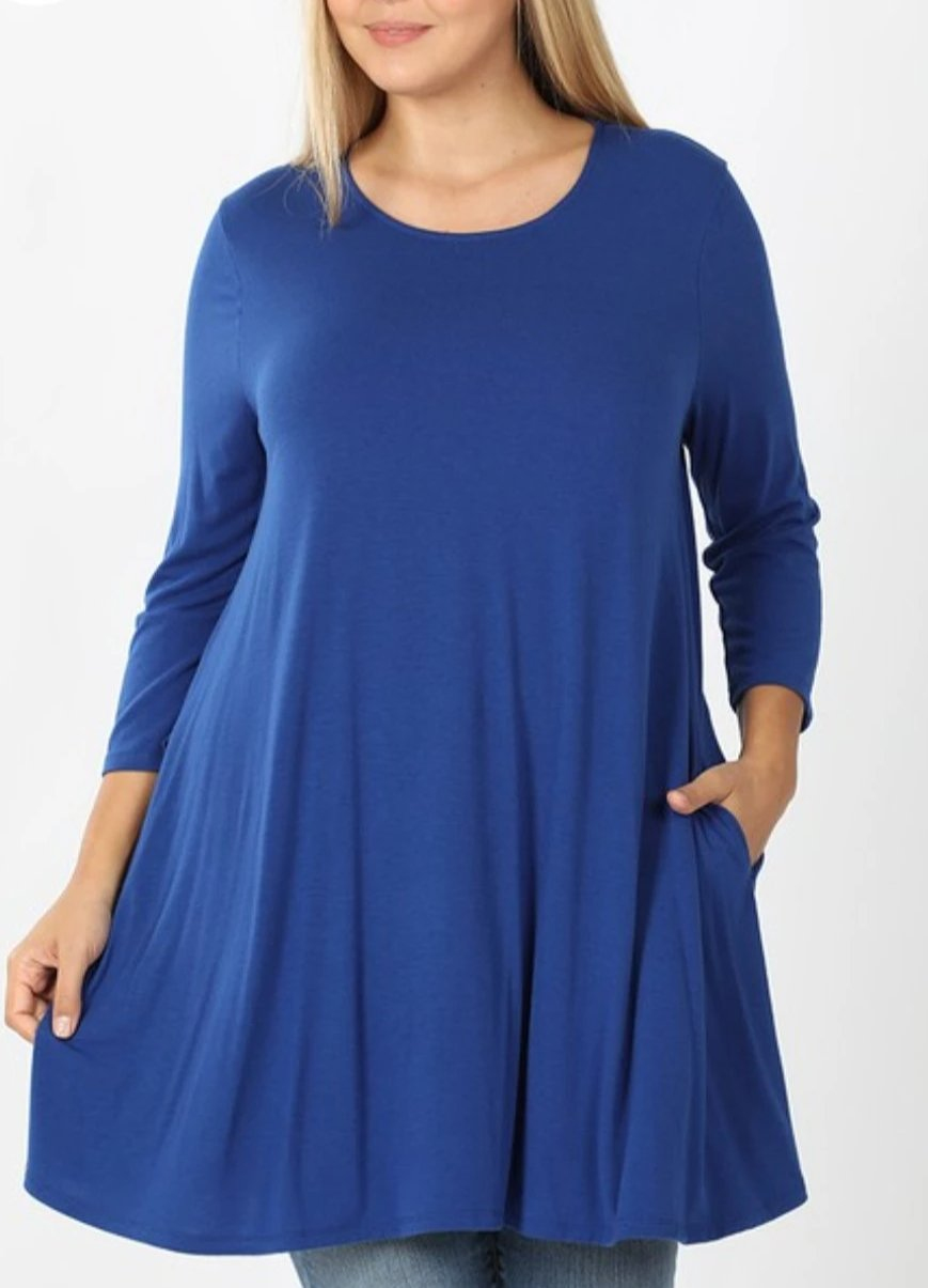 Emily PLUS  SAPPHIRE BLUE 3/4 Sleeve Tunic Top with Pockets