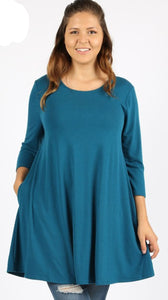 Emily PLUS TEAL 3/4 Sleeve Tunic Top with Pockets