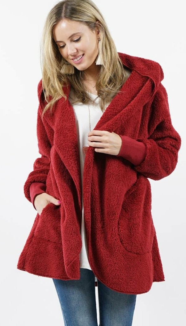 Faux Fur Hooded Cocoon Jacket with Pockets
