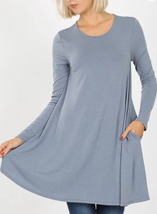 Emily CEMENT Long Sleeve Tunic Top with Pockets
