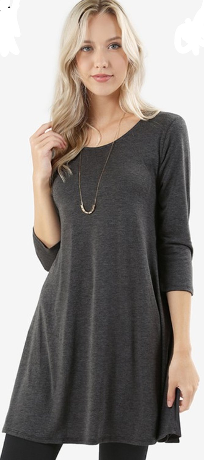 Emily CHARCOAL GRAY 3/4 Sleeve Tunic Top with Pockets