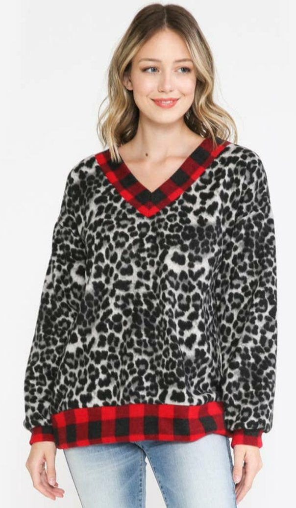 CHANGE OF PACE Snow Leopard and Buffalo Plaid Mega Soft Pull Over Sweater
