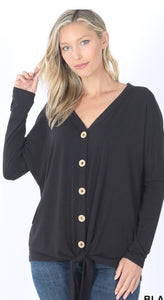 WHY KNOT BLACK PLUS SIZE Button Front Tie Waist Top
