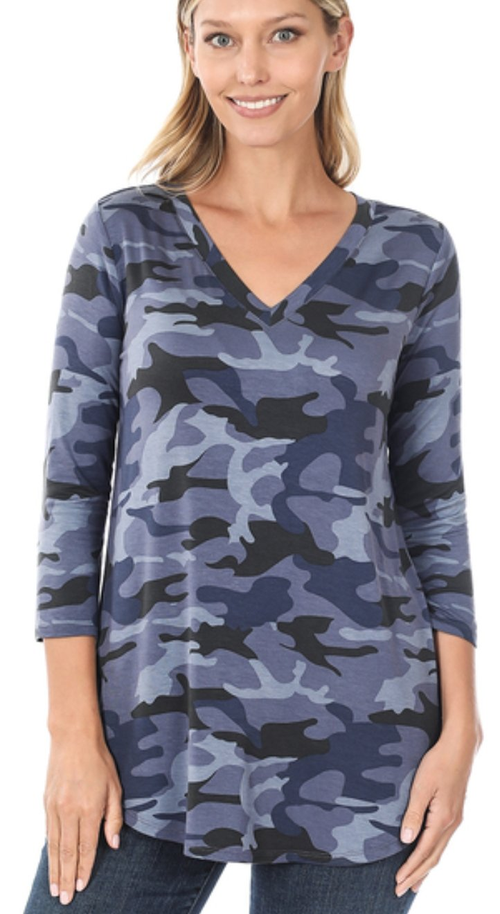NO HIDING Blue CAMO Camoflauge V-Neck Top