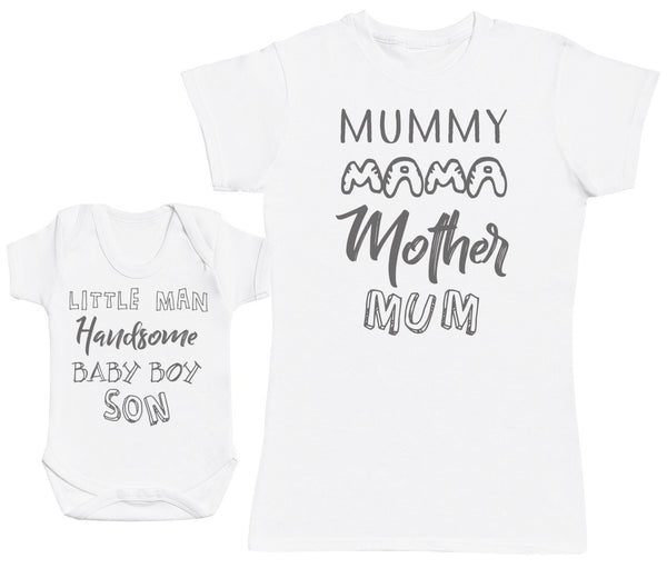 Baby Boy Wording & Mummy Wording Femme T Shirt & bébé bodys