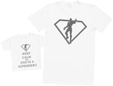 Keep Calm My Dad Is A Superhero Hommes T-shirt & T-Shirt bébé