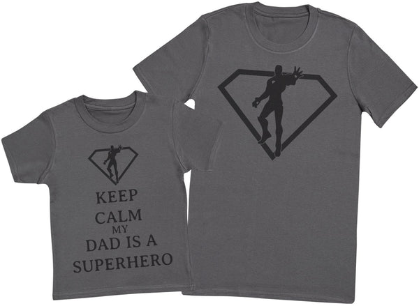 Keep Calm My Dad Is A Superhero Hommes T-shirt et enfants T-shirt