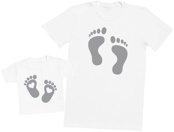 Baby And Daddy Footprints - Hommes T-shirt & T-Shirt bébé