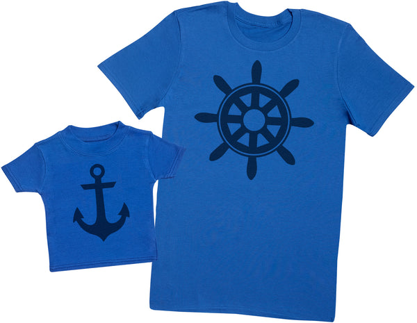 Ship Wheel And Anchor - Hommes T-shirt & T-Shirt bébé