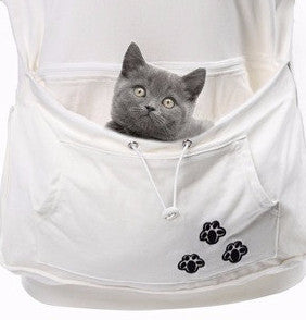 Short Sleeve Cat and Small Animal Pouch Hoodie