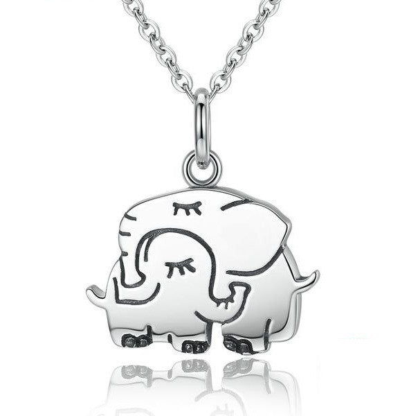 Sterling Silver Mother and Baby Elephant Pendant Necklace