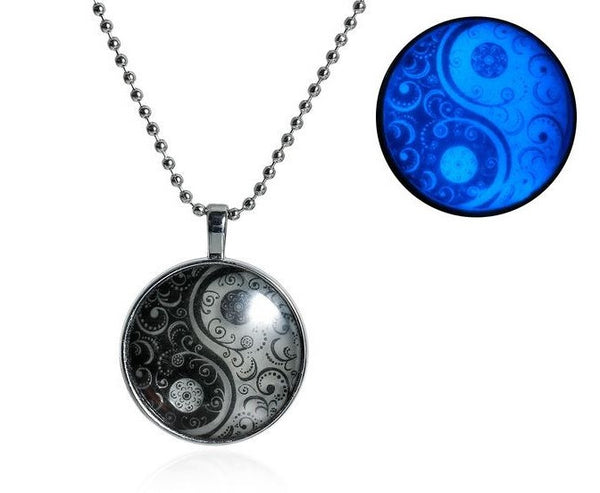 Blue Glow In The Dark Yin Yang Symbol Round Pendant Necklace
