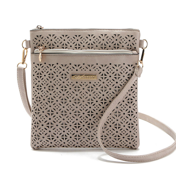 Desgin Cut Out Vegan Leather Crossbody Shoulder Purse