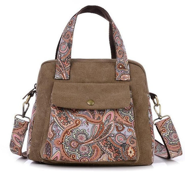 Coffee Canvas with Paisley Design Handbag
