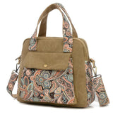 Khaki Canvas with Paisley Design Handbag