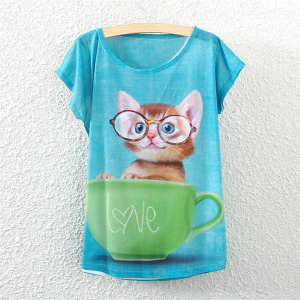 Adorable Cute Kitten in Teacup Women's T-Shirt