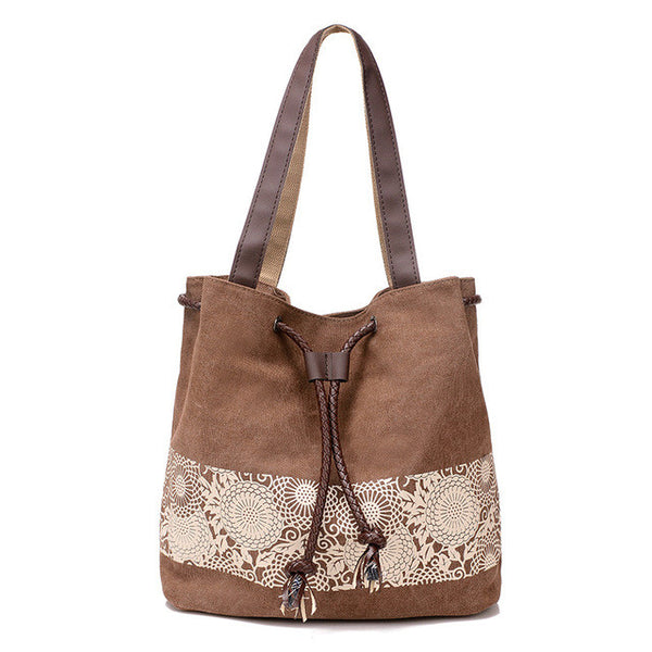 Coffee Floral Lace Print Canvas Casual Shoulder Bag