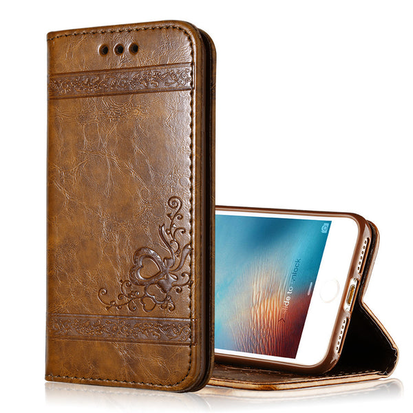 Flip Wallet Vegan Leather Phone Case for iPhone 7 / 6 / 5 / 4 Models