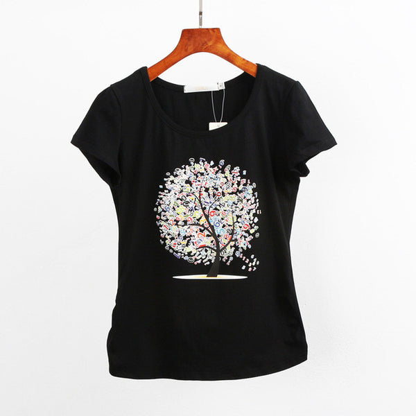 Short Sleeve Women's Casual Top with Tree Painting