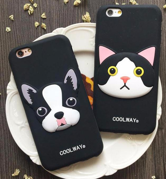3D French Bull Dog and Cat Soft Silicone Phone Cases For iPhone 7 / 6 Models