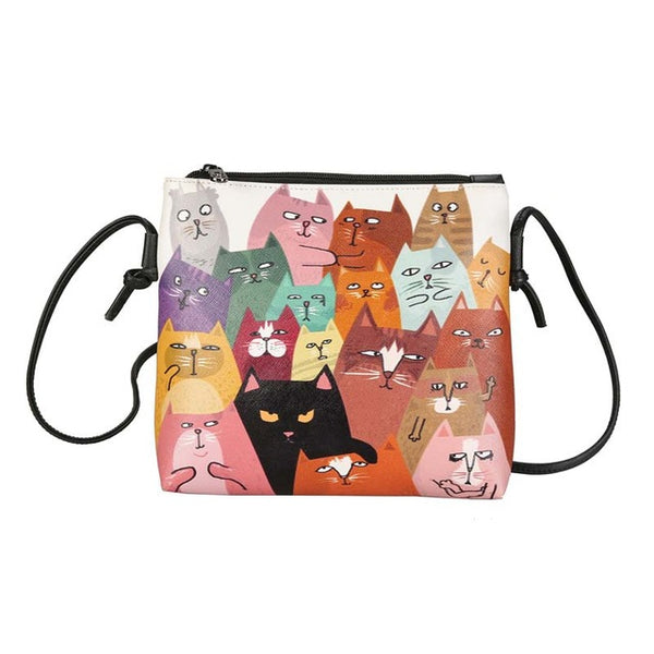 Colorful Cat Art Small Vegan Leather Handbags