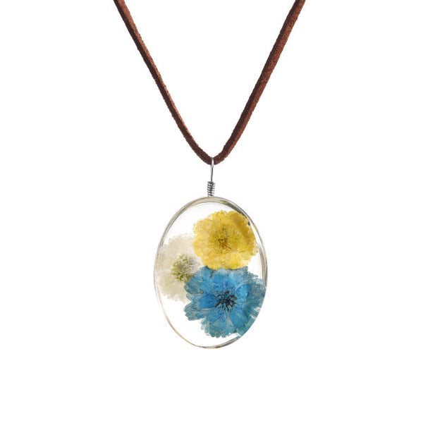 Real Hibiscus Dried Flower Glass Pendant Necklace
