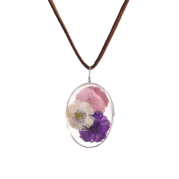 Real Hibiscus Dried Flower Glass Pendant