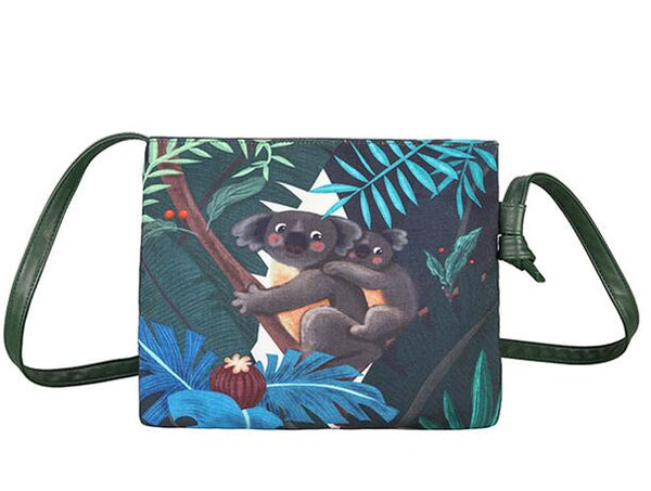 Rain Forest Koala and Flamingo Canvas Shoulder Bags