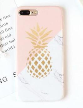 Pink and White Marble Pineapple Phone Cases For iPhones