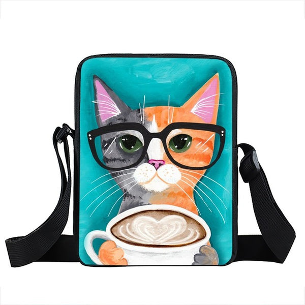 Coffee Cats, Dogs, Panda Messenger Bags