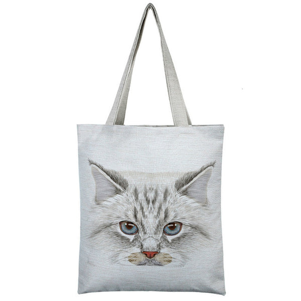 Cat Printed Casual Canvas Totes