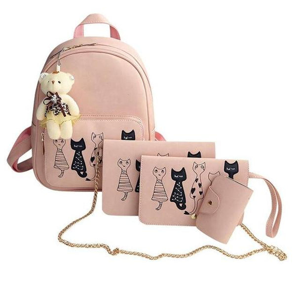 4pcs set Cat Printed Vegan Leather Backpack / Shoulder Purse / Clutch / Purse