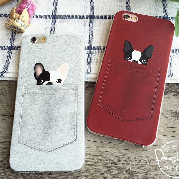 Cute French Bulldog Pocket Soft Phone Case For iPhone X / 8 / 7 / 6 / 5 Models and Samsung Galaxy