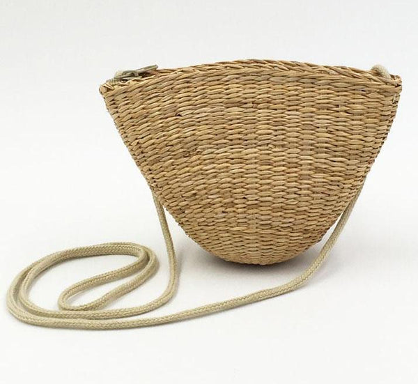 Small Rattan Straw Purse Handbag