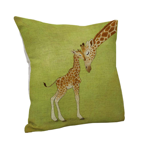 Giraffe Mom and Baby Cotton Linen Pillow Case
