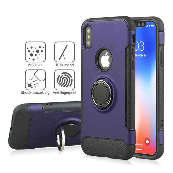 Shockproof Hard PC Phone Cover 360 Rotate Ring Holder Phone Back Case for IPhone X / 8 / 7 / 6 Models